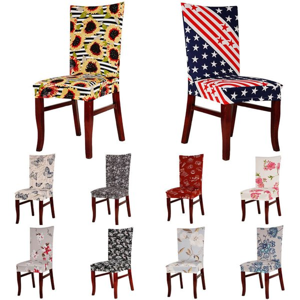 Print Chair Cover Spandex Stretch Elastic Slipcovers Chair Covers For  Dining Room Kitchen Wedding Hotel Banquet Seat Covers For Kitchen Chairs  Folding ...