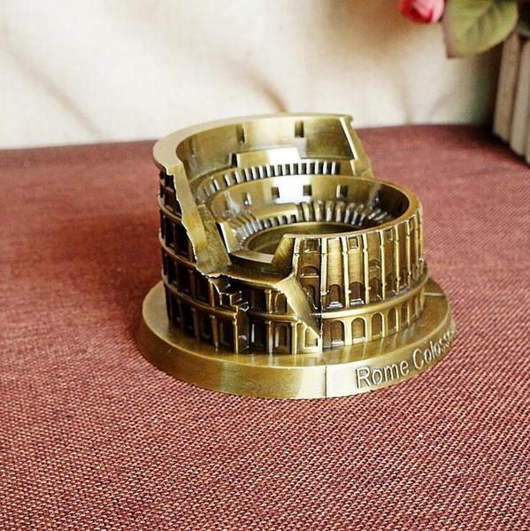 Metal Roma Kolezyum Heykeli alaşım Modeli-İtalyan Ünlü Landmark Yapı Modelleri Heykelcik-Retro Ev Ofis Dekor (13 cm * 11.5 cm * 7 cm)