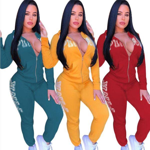 2019 Carta de Otoño Imprimir Chándal Mujer Trajes Casuales Conjunto de dos piezas Pantalones Trajes Ropa de talla grande Amarillo Verde Rojo