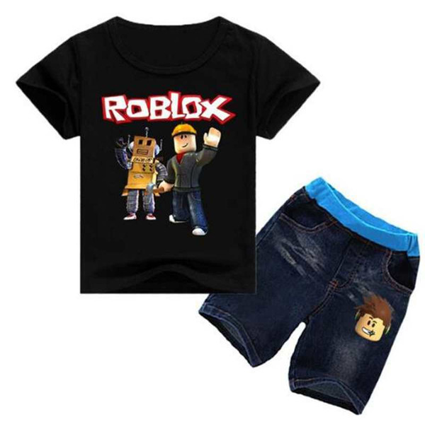 new products a4478 b98c2 Roblox Game Print T-shirt Tops+Denim Shorts Fashion New Teenagers Kids  Outfits Girl