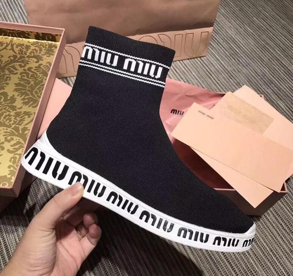 2019 Die beliebtesten bequeme und atmungsaktive Socken Stiefel im frühen Herbst schwarz, grau 35-40 SneakersMiumiu a32060