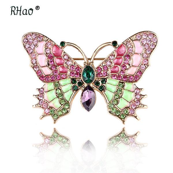 Jóias rosa Rhinestone Vintage Grande borboleta do esmalte broches Broche de casamento Insect Hijab Pin Broches Para Mulheres