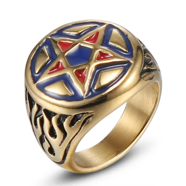 Bnwige 2019 New Fashion Stainless Steel Gold Dripping Oil Red Pentagram Male Ring Simple High Quality Biker Jewelry Letter