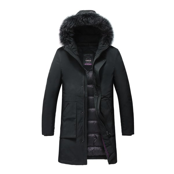 Großhandel Männer Lange Daunenjacke Mit Kapuze Mantel Mit Abnehmbarem Real Black Fur Plus Size Oberbekleidung Long Daunenparka Von Salom, $178.13 Auf