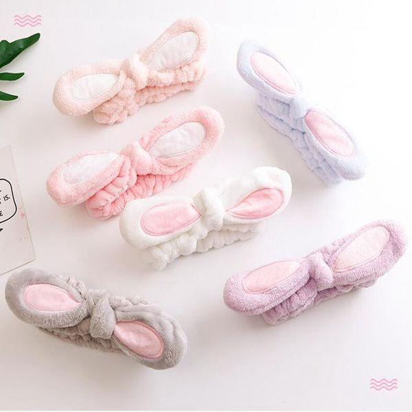 6 colos Flannel bow headband women girls soft bath shower makeup cute rabbit ear elastic hairband hair accessories