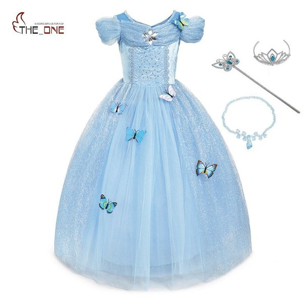 Muababy Mädchen Cinderella Dress Up Prinzessin Kostüm Schmetterling Kinder ärmellose Party Kleider Halloween Kinder Pageant Cosplay Fantasy J190612