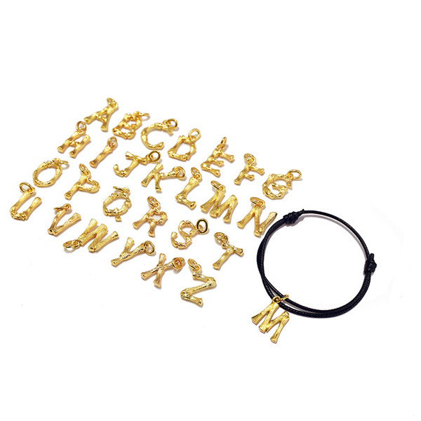 Бренд простой нержавеющей стали A-Z буква веревки Браслет для женщин плетеное имя ювелирных изделий шарма
