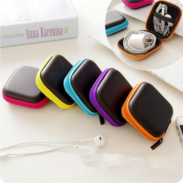 Neue tragbare mini reißverschluss kopfhörer tasche pu leder schützende headset abdeckung usb cable organizer container ohrhörer pouch box für kopfhörer