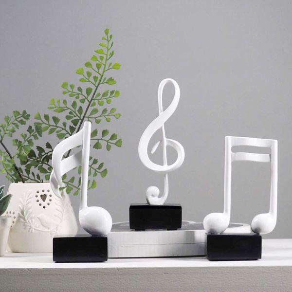 top popular Musical Note Statue Decor Home Decor Decoration Sculpture Collectible Arts Crafts 19cm Set of 3 White 2021