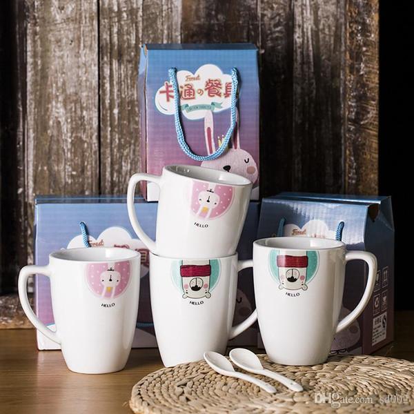Ceramica Cartoon Water Cup Suit Regalo Latte Coniglio Studente Mug Caffè Overglaze Little Bear Tumbler Vendita calda 3 2ksC1