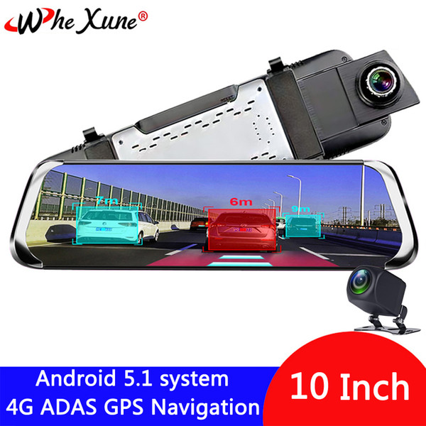 "best selling WHEXUNE 4G 10"" IPS Android 5.1 Car DVR Camera ADAS mirror Dash cam Video Recorder Full HD Rear View Mirror WiFi GPS registrar"