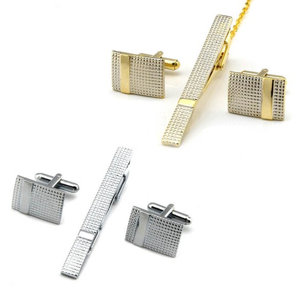 Cuff Link and Tie Clip Sets Luxury Cufflinks For Mens Set Curve Stripes Cufflinks High Quality Tie Pin Cuff Links Set Tie Bar drop ship
