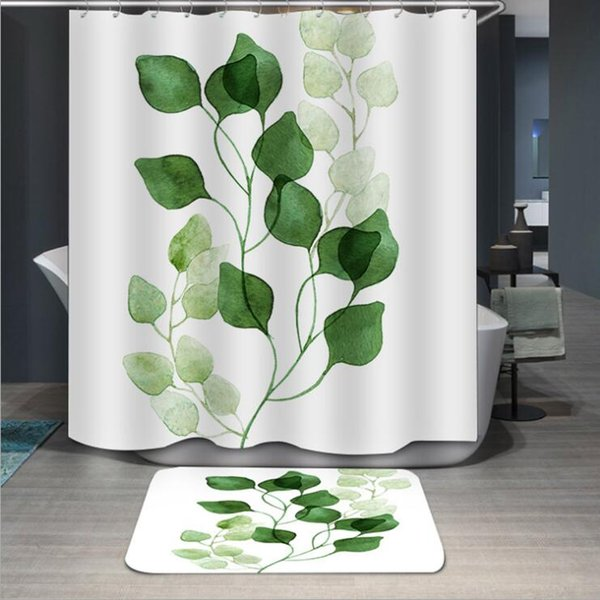 Nordic Style Plant Polyester Printing Waterproof Mildew Shower Curtain High Quality Colorful Curtains for Bathroom Shower