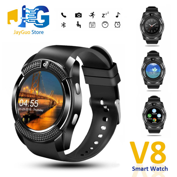 top popular V8 Smart Watch Bluetooth Watches With 0.3M Camera SIM IPS HD Full Circle Display DZ09 GT08 Smartwatch For Android System With Box 2020