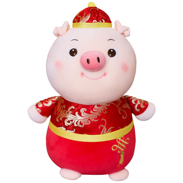 2019 Cute New Year Pig plush Toy Chinese Year Of The Pig Mascot Plush Stuffed Animal Soft Doll Cartoon Pillow