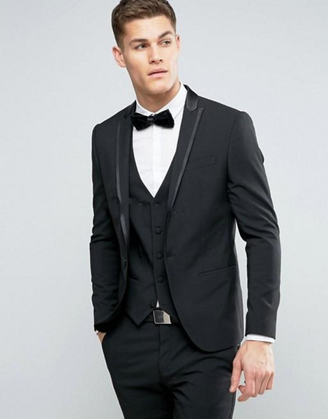 Brand New Black Groom Tuxedos Peak Lapel Groomsmen Mens Wedding Dress Style Man Jacket Blazer 3 Piece Suit(Jacket+Pants+Vest+Tie) 837