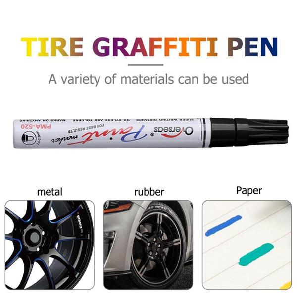 Herramienta de pintura automática Impermeable Neumático de coche Pisada Pintura permanente Rotulador Pluma Graffiti Marcador aceitoso