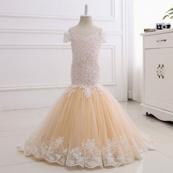 Новое платье русалки девушки кружева тюль шампанское платья девушки цветка Подростковое платье для свадьбы день рождения