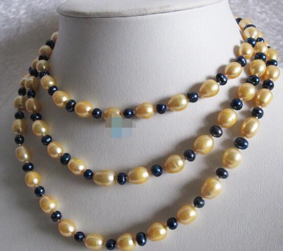 "feel shipping 0001 49"" 4-9mm Multi Color Gold Rice Navy Freshwater Pearl Necklace Strandfjnfcg"