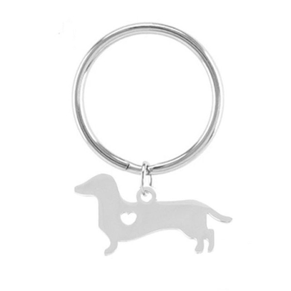 100% stainless steel blank Dachshund keychain metal blank tag key ring high polished DIY Jewelry wholesale 10pcs