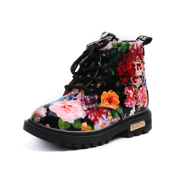 Shoes Floral Martin Boots for Girls Botas Elegant Flower Print PU Leather Shoes Child Rubber Soled Boots Bottes