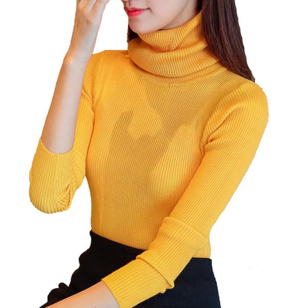 2018 neuer Stil dünner Hals Pullover, Rollkragenpullover, Herbst Winter der Frauen, koreanische lange Ärmel, langärmeliges Strick-Jersey. # 451374