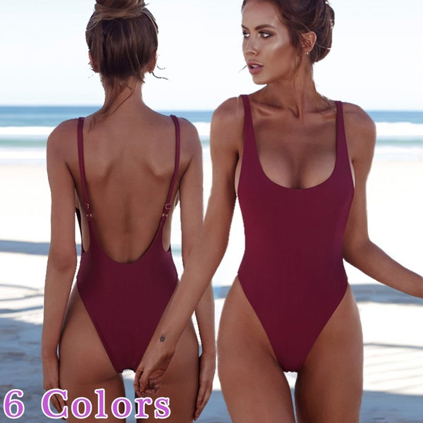 Fashion Swimsuits for Women Sexy Solid Color Bikinis for Women Bathing One Piece Suits 6 Colors