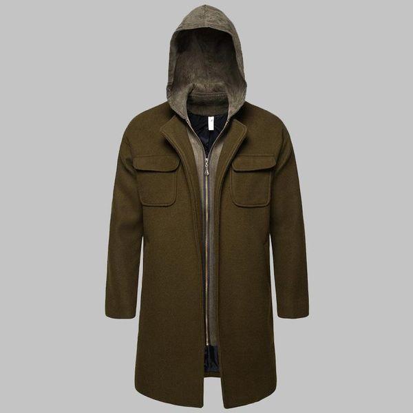Fake Two Piece Men's Woolen Trench Coat 2019 Winter Army Green Hooded Zipper Windbreaker Men Casual Long Manteau Homme J190810