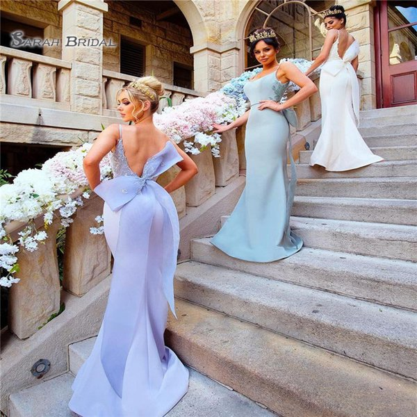 Sereia vestidos de dama de honra com arco voltar Sexy Spaghetti Straps Backless convidados de casamento vestidos apliques cetim maid of honor vestido