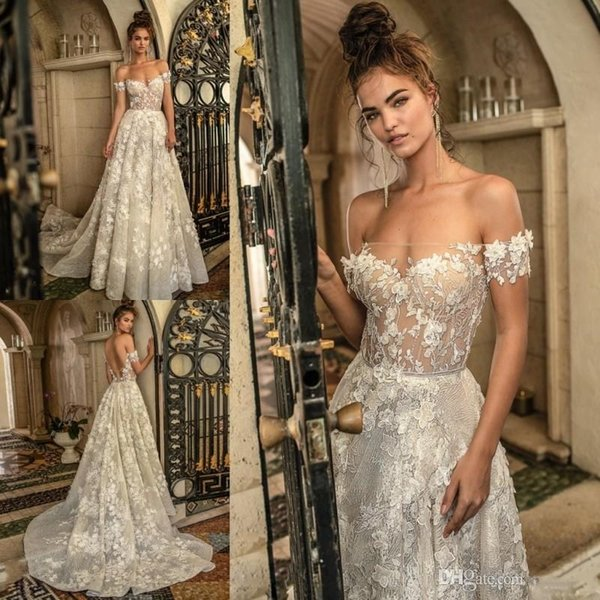 Berta Illusion Sexy Bateau Mermaid Lace Applique Hand Made Flowers Short Sleeves Backless Wedding Dresses Custom Made Bridal Wedding Gowns