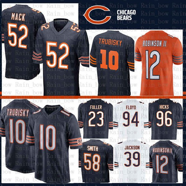 san francisco 689d7 6f843 2019 10 Mitchell Trubisky 52 Khalil Mack Chicago Bears Jersey 12 Allen  Robinson II Roquan Smith 17 Anthony Miller 94 Leonard Floyd 23 Kyle Fuller  From ...