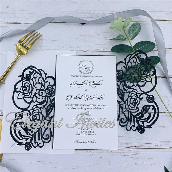 Black Romantic Wedding Invitation Card Carved Flower Pattern Iridescent Paper Crafts Hollow Cards For Party Wedding Party Seal And Send Wedding