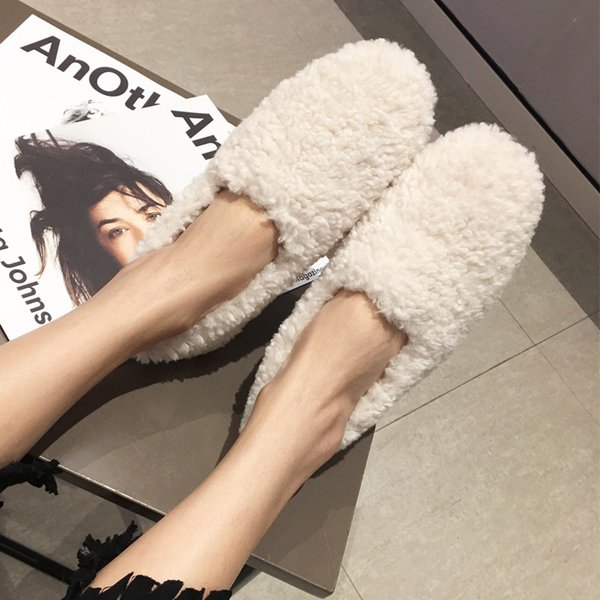 women fluffy shoes wool fur solid color 2019 fashion trends slip on loafers lady furry flats curly fur plush warm shoes winter