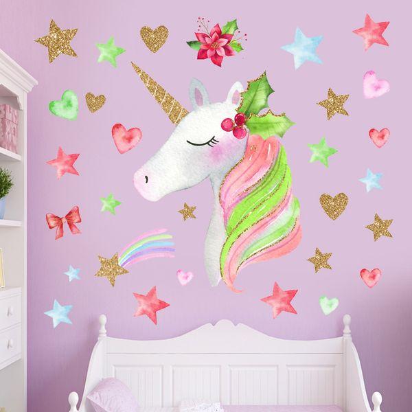 36*60cm Children rainbow unicorn wall sticker flower ins baby girls boys fashion cartoon bedroom wall decoration home decor wall sticker