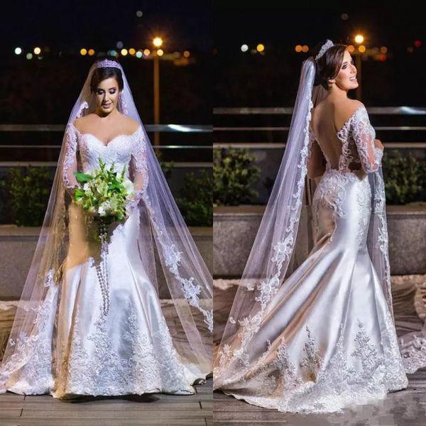 Moderno Rendas Applique Plus Size Vestidos De Casamento De Cetim Mangas Compridas Fora Do Ombro Backless Vestidos De Noiva Vestido de casamento Africano