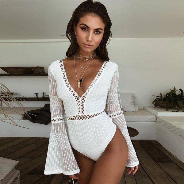 Mulheres Verão New Sexy Jumpsuits Marca Womens Lace Costura Oco Out Perspectiva V Neck Sexy Macacões Woemn Verão Praia Roupas