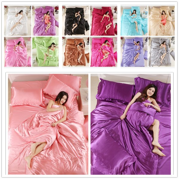 Juego de cama de seda de lujo king Twin Queen Size para funda de edredón textil para el hogar para mujeres adultas 2 / 3pcs Color sólido de la cubierta del edredón