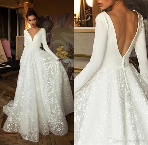 2020 Boho современный с длинным рукавом Принцесса свадебные платья V шеи крытая кнопка спинки кружева поезд свадебное платье Vestido де Novia