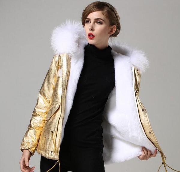Special price Meifeng brand white fur trim hoody women snow coats YKK ZIPPER white rabbit fur lining mini gold parkas