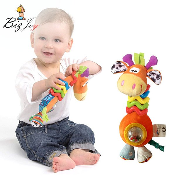 stroller toy 22cm Baby Rattles Cute Plush giraffe Animal beads Infant Baby Crib Stroller Toy 0-12 month Plush Newborn Bed Play Doll