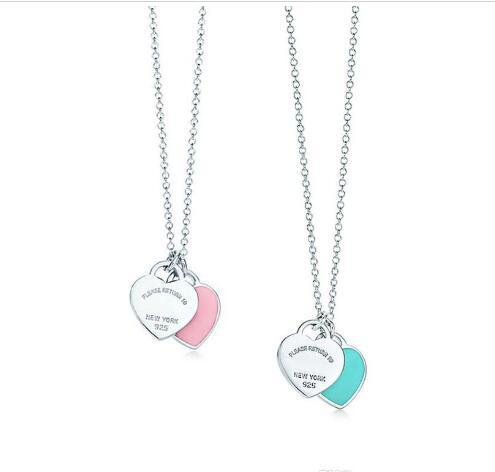 2019 Real s925 Sterling silver lady heart necklace pink blue enamel love condole chain jewelry customization wholesale Brand T with logo