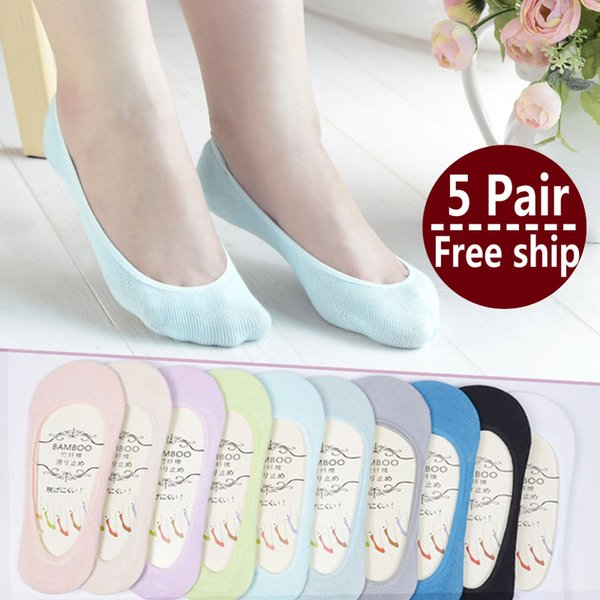1lot =5 Pair New Arrival Women Cotton Socks Female Solid Color Candy Invisible Socks Summer Thin Sweet Casual Slipper Socks