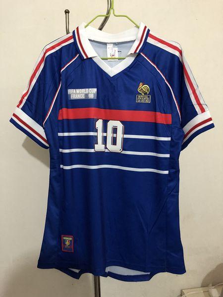 1998 world cup champions retro VINTAGE ZIDANE HENRY MAILLOT DE FOOT Thailand Quality france soccer jerseys uniform 98 Football Jerseys shirt