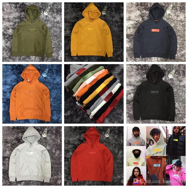 18SS Newest Box Logo Embroidery Cotton Hoodies Couple Fashion Hooded Sweatshirts Hip Hop Top Quality Seven Color HFLSWY119