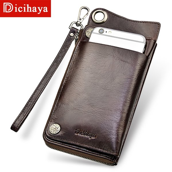 DICIHAYA Men Wallets with Wristlet Genuine Leather Clutch Purse Long Wallet Large Capacity Zipper Purse Card Holder Phone Bag #303442