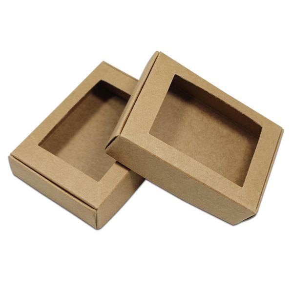 50Pcs / lot Contenitore di cartone di carta kraft marrone cavità scatola di imballaggio del partito di imballaggio di evento scatola di carta kraft papercard imballaggio al dettaglio
