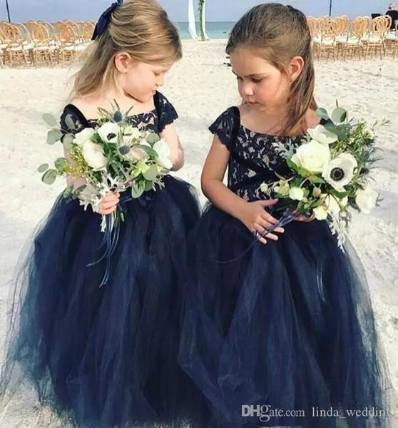 Compre 2019 Princesa Barato Encantador Lindo Azul Marino Encaje Largo Florista Vestidos Niña Hija Niños Bonitos Concurso Vestido De Primera Comunión