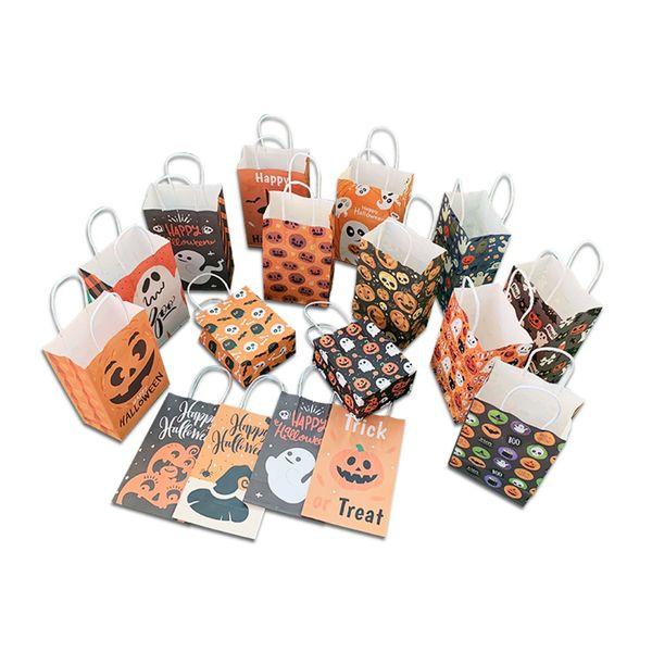 21 * 13 * 8CM Sacco di carta di Halloween Kraft con manico Pacchetto regalo Zucca Fantasma Biscotto Sacchetti di caramelle per banchetti per feste di festival JK1909