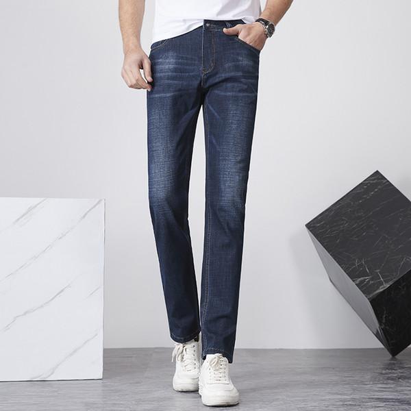 2019 New European American Style Stretch Herren Jeans Luxus Herren Jeans Slim Straight Blue Gentleman Herren Jeans 9D7605