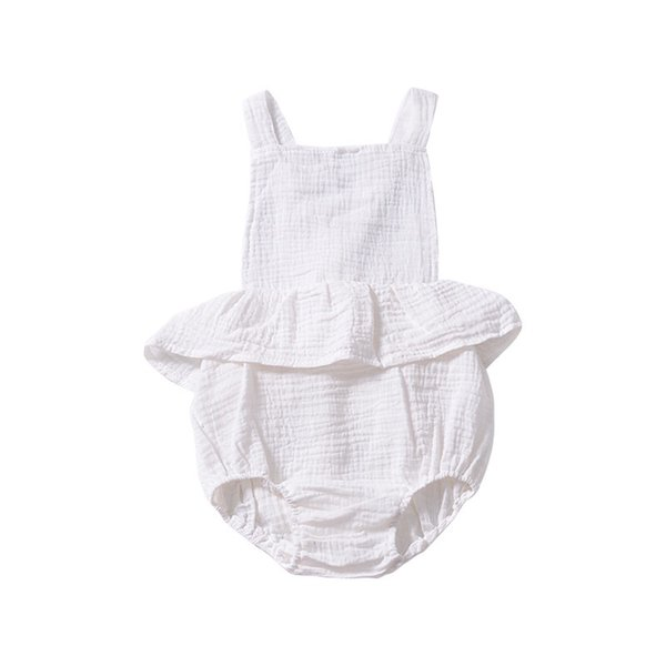 INS White Baby Girls Sleeveless Rompers Dresses Must-have Newborn Girls Bodysuits One-piece Sleeveless Pink Belt Blackless Girls Jumpsuit